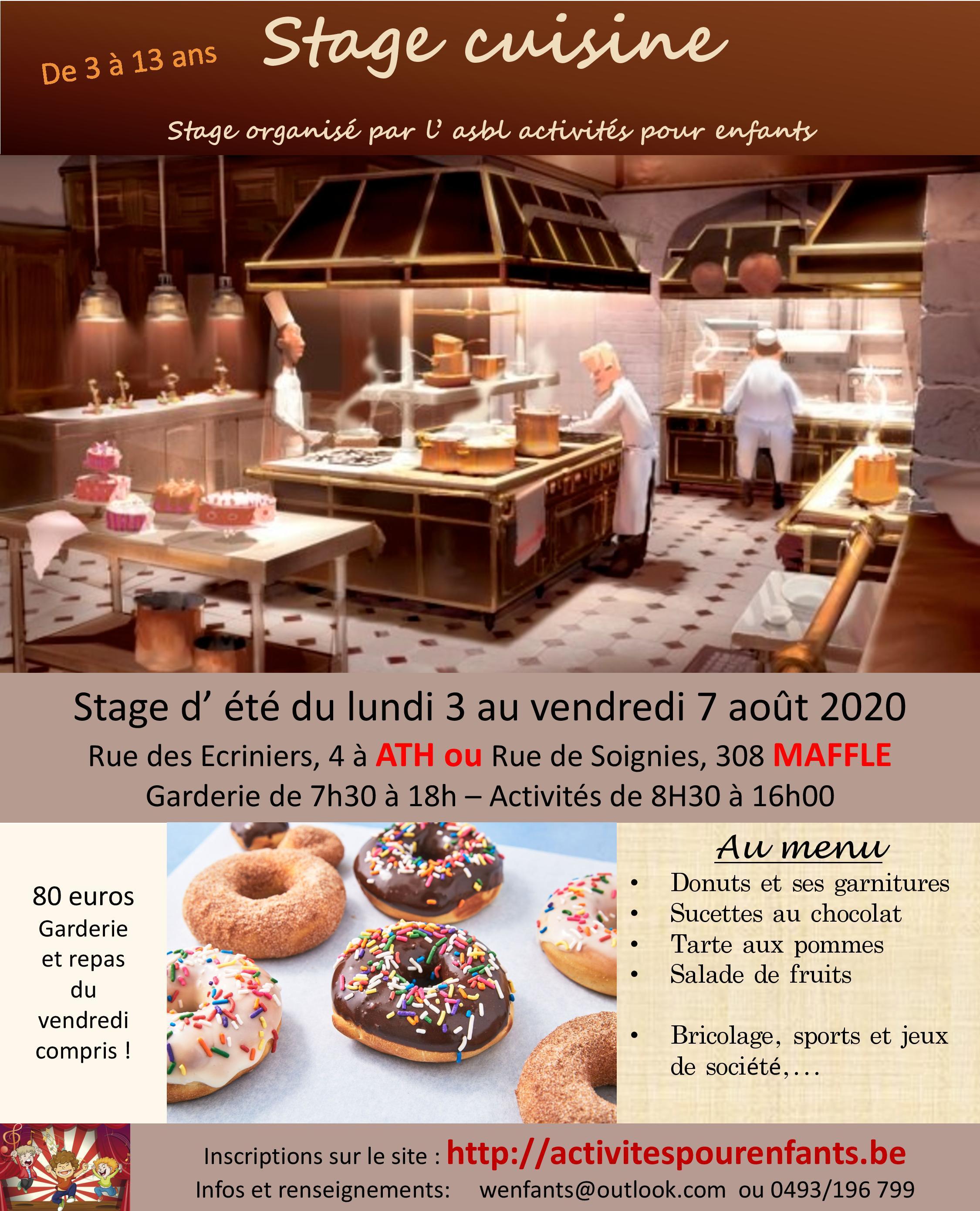 Stage cuisine Ath ou Maffle Août
